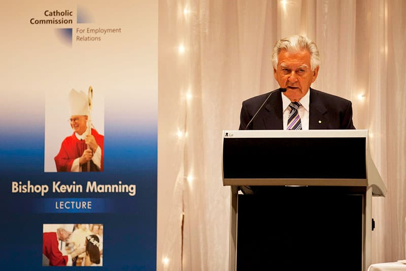 prime minister bob hawke speaking at an event