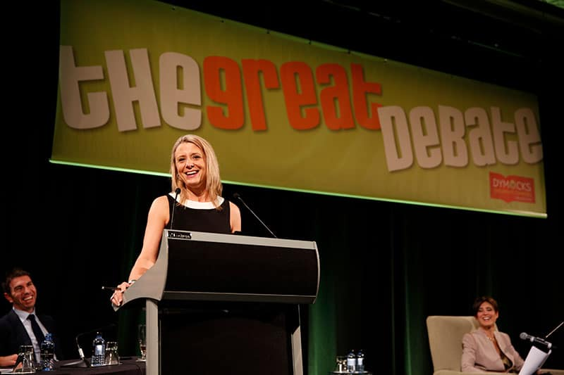 guest speaker at the great debate charity event