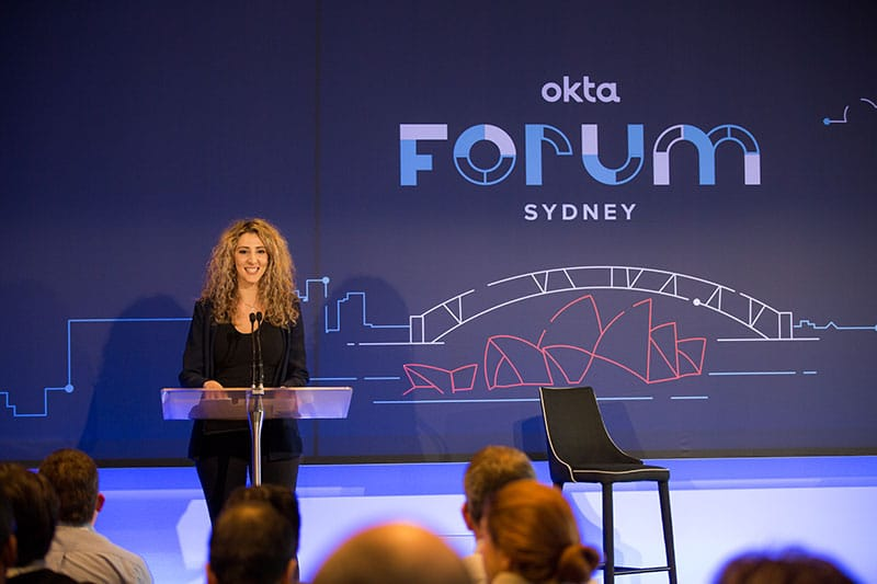 keynote speaker at the okta forum corporate event