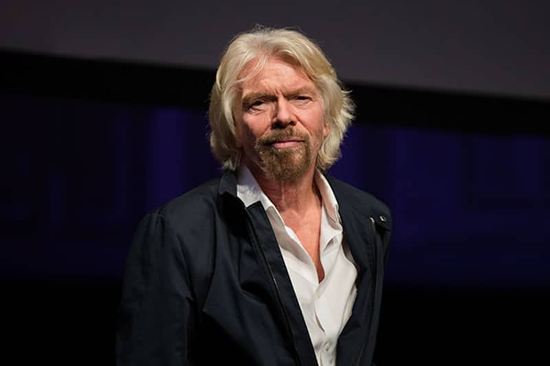 sir richard branson business portrait at a corporate event