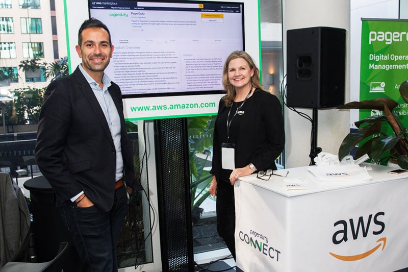 amazon web services expo stand at corporate event